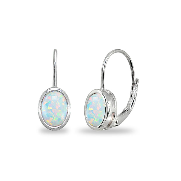 Sterling Silver Created White Opal 7x5mm Oval Bezel-Set Dainty Leverback Earrings