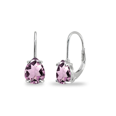 Sterling Silver Simulated Alexandrite 7x5mm Teardrop Dainty Leverback Earrings