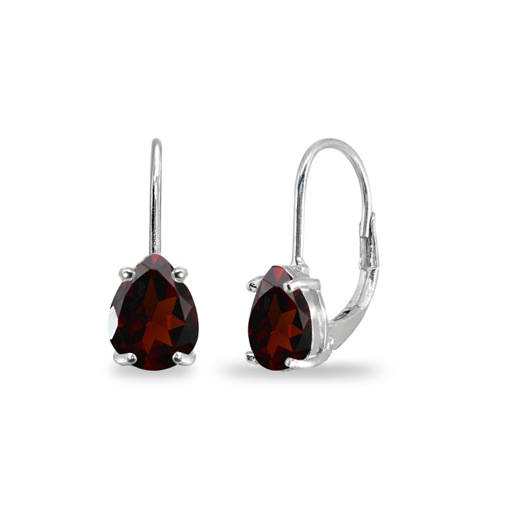 Sterling Silver Garnet 7x5mm Teardrop Dainty Leverback Earrings