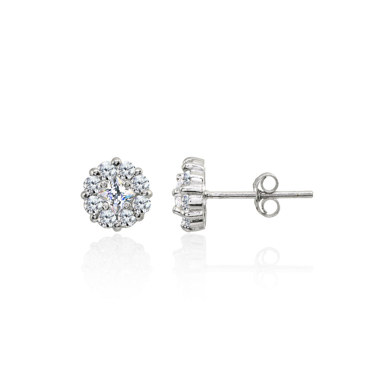 Sterling Silver Cubic Zirconia Princess-Cut and Round-Cut Halo 8mm Stud Earrings