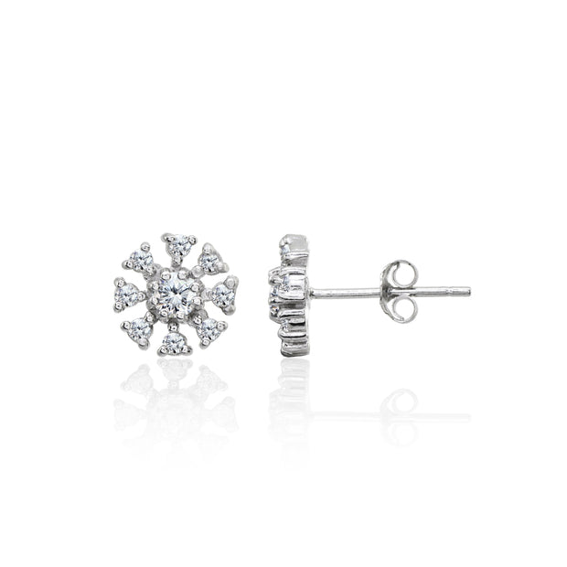 Sterling Silver Polished Cubic Zirconia Round-Cut Snowflake 9mm Stud Earrings