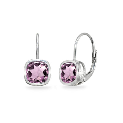 Sterling Silver Simulated Alexandrite 6x6mm Cushion-Cut Bezel-Set Dainty Leverback Earrings