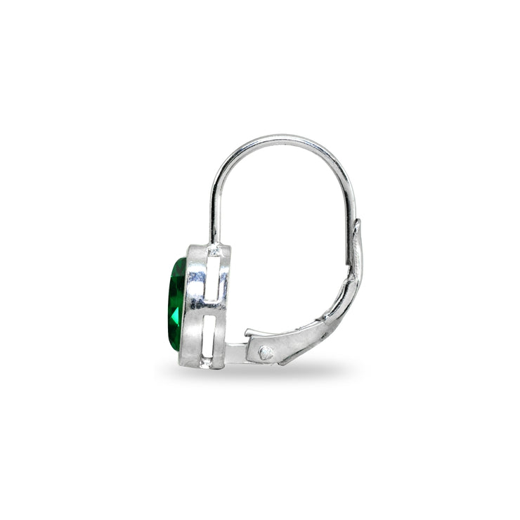 Sterling Silver Simulated Emerald 6x6mm Cushion-Cut Bezel-Set Dainty Leverback Earrings