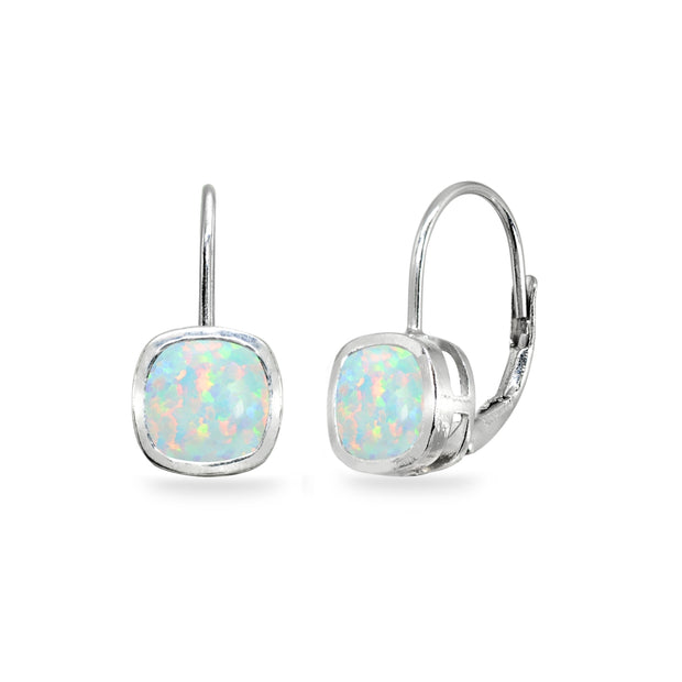 Sterling Silver Created White Opal 6x6mm Cushion-Cut Bezel-Set Dainty Leverback Earrings