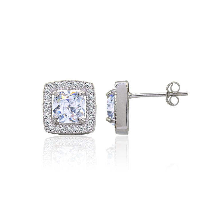 Sterling Silver Cubic Zirconia Cushion-Cut Halo 10mm Stud Earrings
