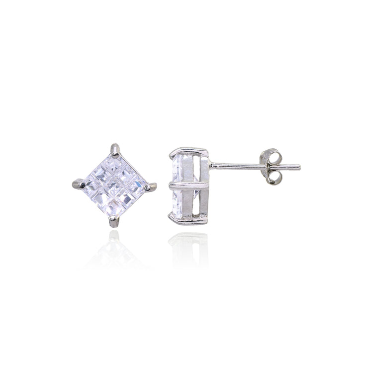 Sterling Silver Cubic Zirconia Princess-Cut Checkerboard 10mm Stud Earrings