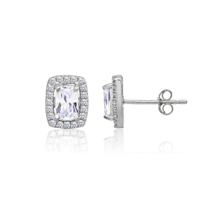 Sterling Silver Cubic Zirconia Cushion-Cut Halo Stud Earrings