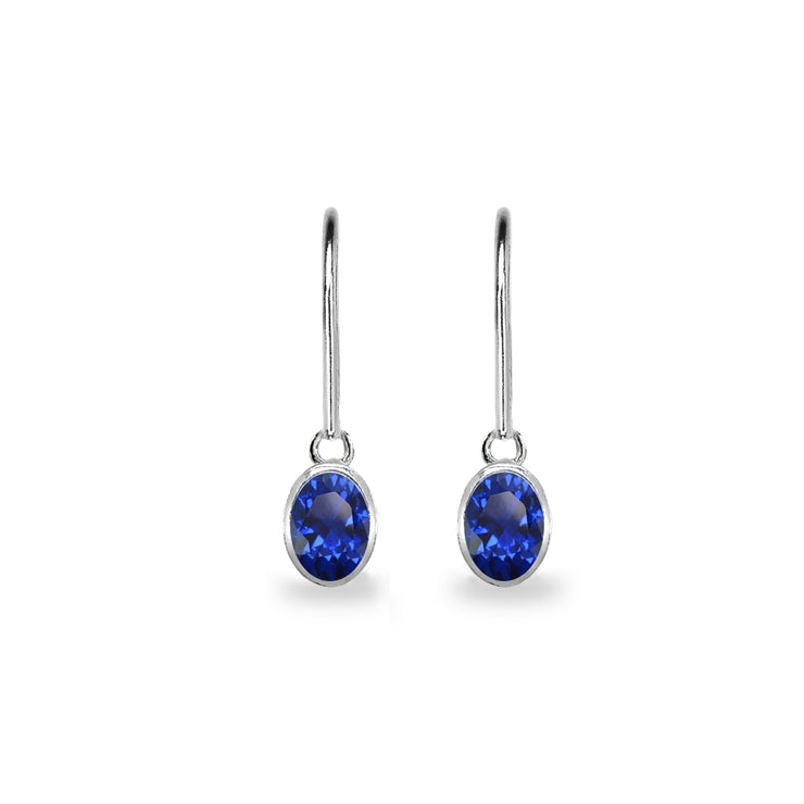 Sterling Silver Created Blue Sapphire 7x5mm Oval-Cut Bezel-Set Dainty Dangle Leverback Earrings