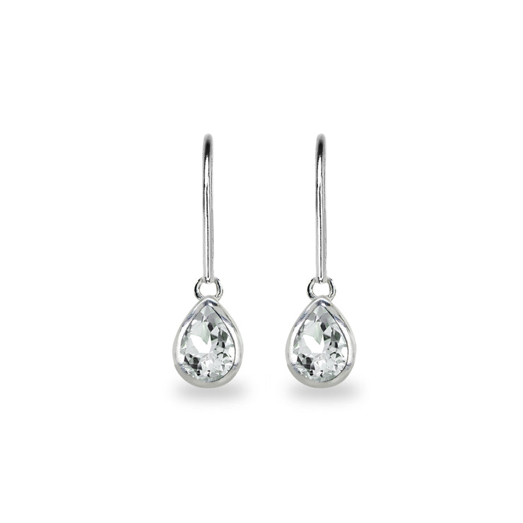 Sterling Silver Light Aquamarine 7x5mm Teardrop Bezel-Set Dainty Dangle Leverback Earrings