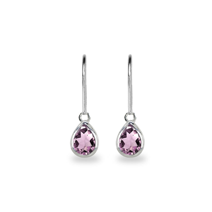 Sterling Silver Created Alexandrite 7x5mm Teardrop Bezel-Set Dainty Dangle Leverback Earrings