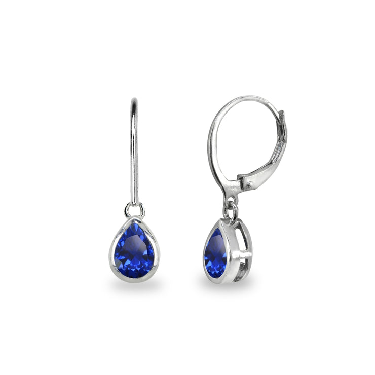 Sterling Silver Created Blue Sapphire 7x5mm Teardrop Bezel-Set Dainty Dangle Leverback Earrings