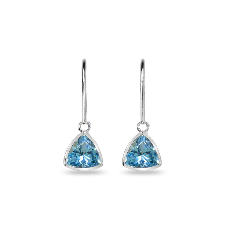 Sterling Silver Created Aquamarine 7mm Trillion Bezel-Set Dainty Dangle Leverback Earrings