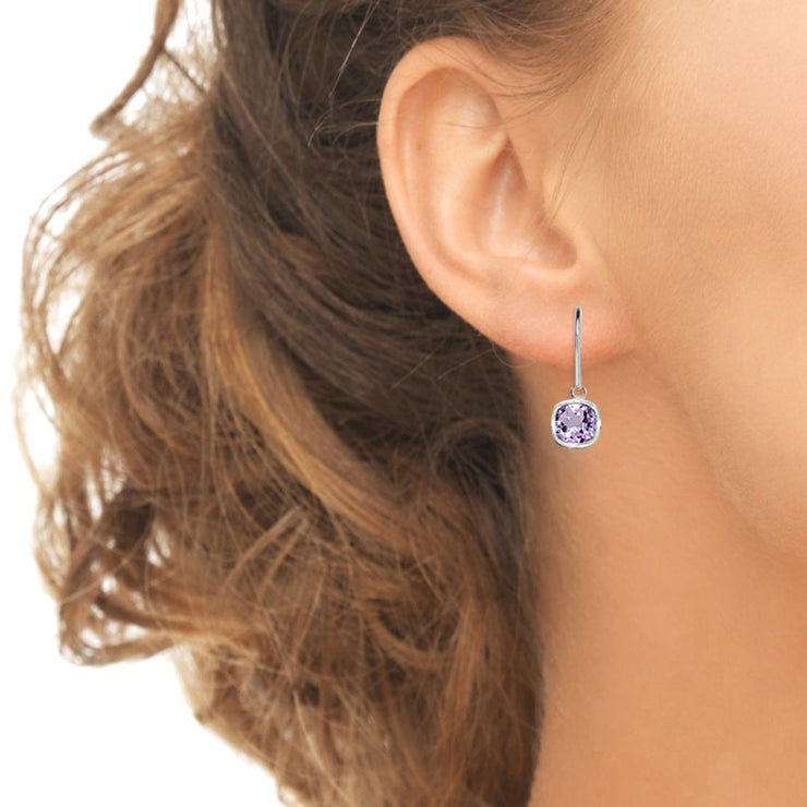 Sterling Silver Amethyst 6mm Cushion-Cut Bezel-Set Dainty Dangle Leverback Earrings