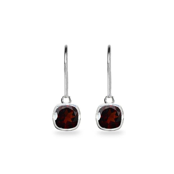 Sterling Silver Garnet 6mm Cushion-Cut Bezel-Set Dainty Dangle Leverback Earrings