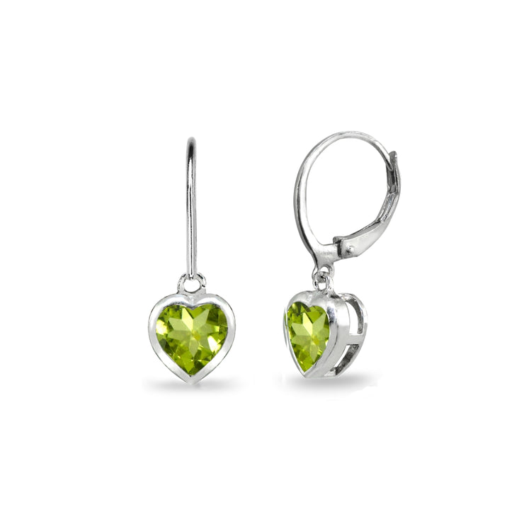 Sterling Silver Peridot 6mm Heart Bezel-Set Dainty Dangle Leverback Earrings