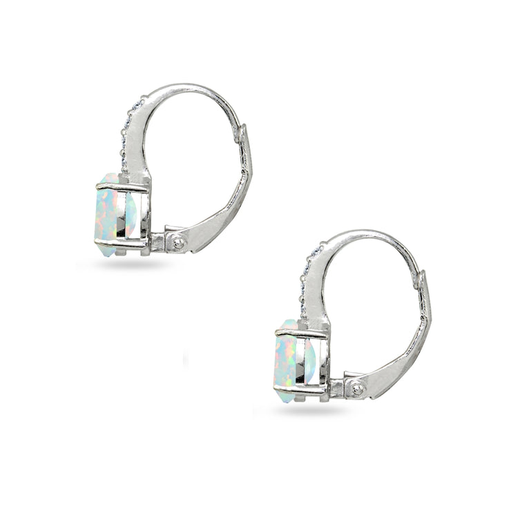 Sterling Silver Created White Opal & Cubic Zirconia 7x5mm Oval-Cut Leverback Huggie Earrings