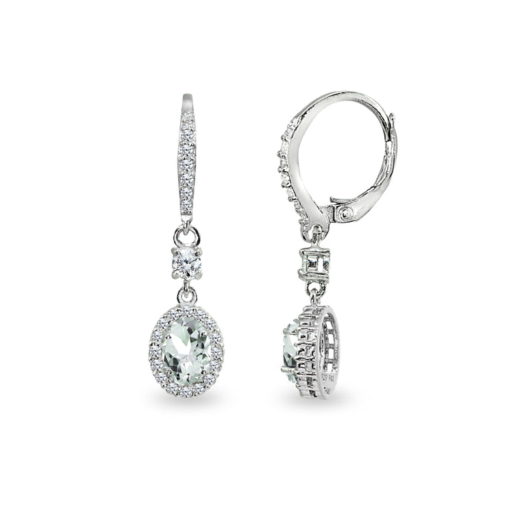 Sterling Silver Light Aquamarine & Cubic Zirconia 7x5mm Oval-Cut Halo Leverback Earrings