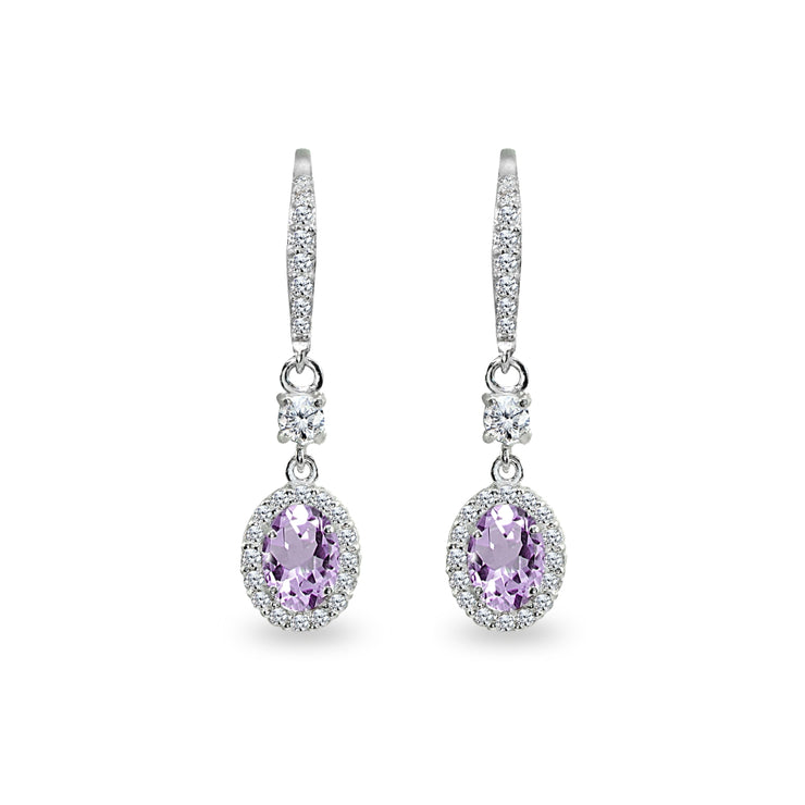 Sterling Silver Amethyst & Cubic Zirconia 7x5mm Oval-Cut Halo Leverback Earrings