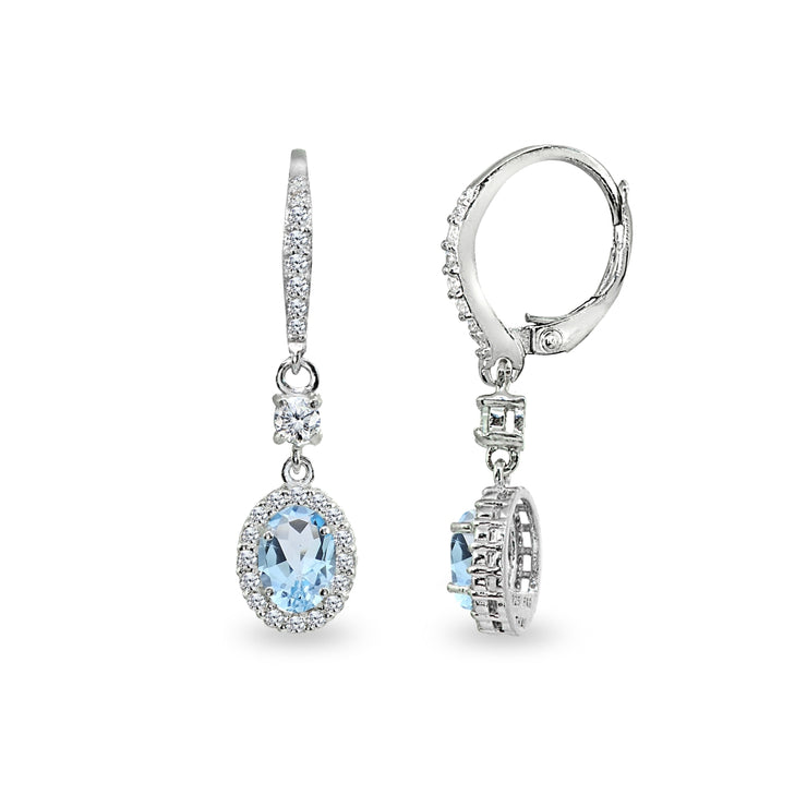 Sterling Silver Blue Topaz & Cubic Zirconia 7x5mm Oval-Cut Halo Leverback Earrings
