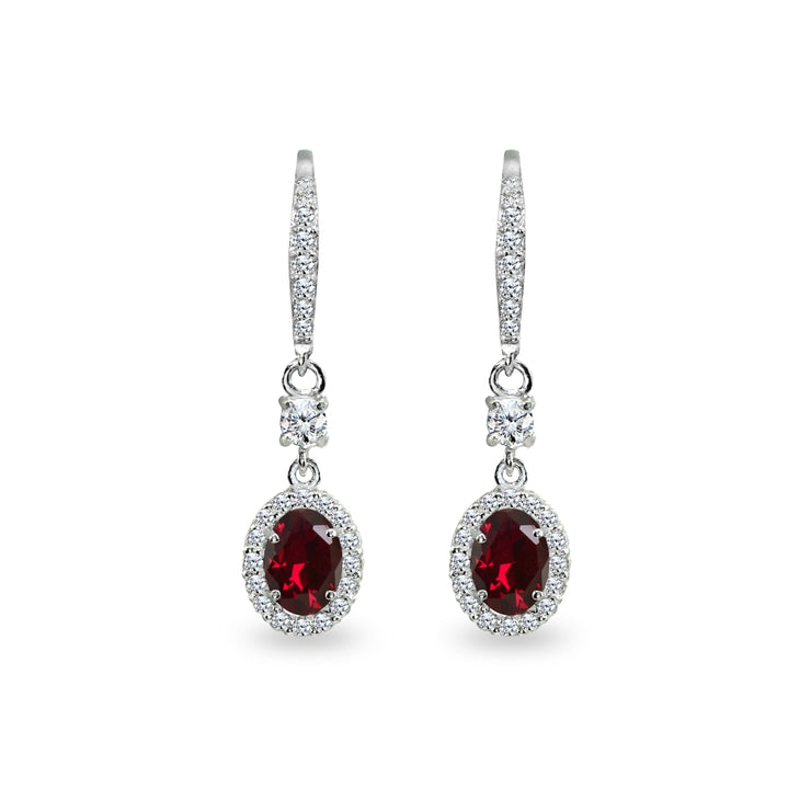 Sterling Silver Created Ruby & Cubic Zirconia 7x5mm Oval-Cut Halo Leverback Earrings