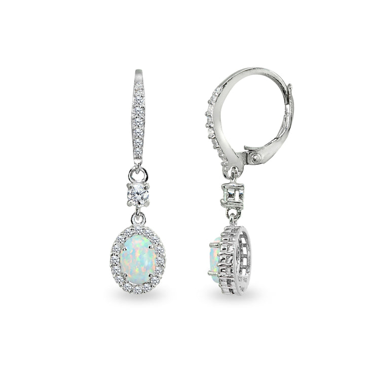Sterling Silver Created White Opal & Cubic Zirconia 7x5mm Oval-Cut Halo Leverback Earrings