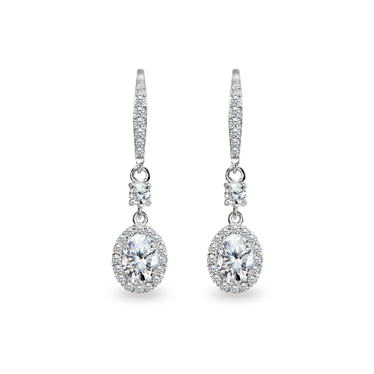Sterling Silver Cubic Zirconia 7x5mm Oval-Cut Halo Leverback Earrings