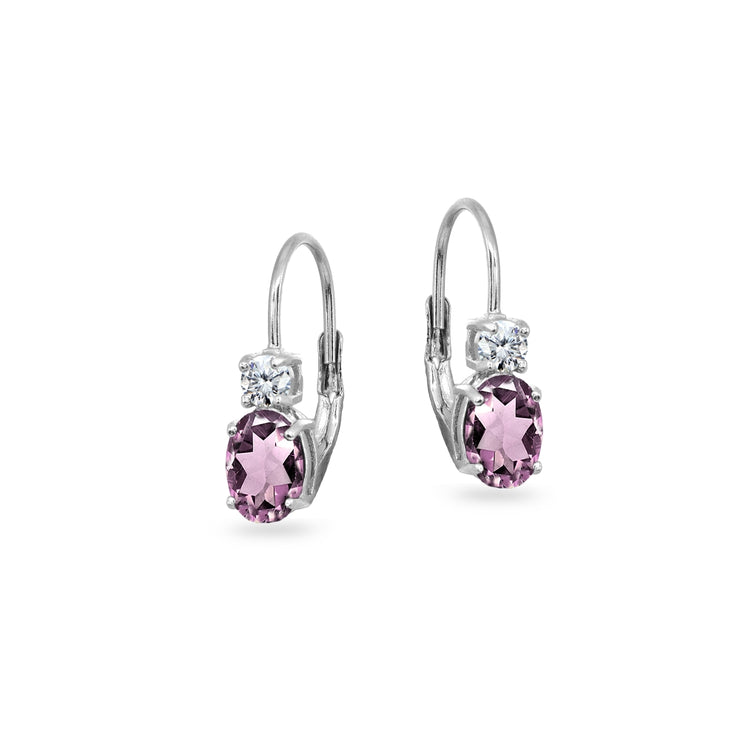 Sterling Silver Created Alexandrite 7x5mm Oval-Cut and 3mm Round-Cut CZ Dainty Leverback Earrings