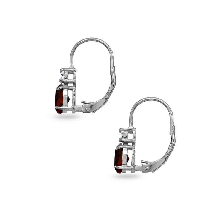 Sterling Silver Garnet 7x5mm Oval-Cut and 3mm Round-Cut CZ Dainty Leverback Earrings