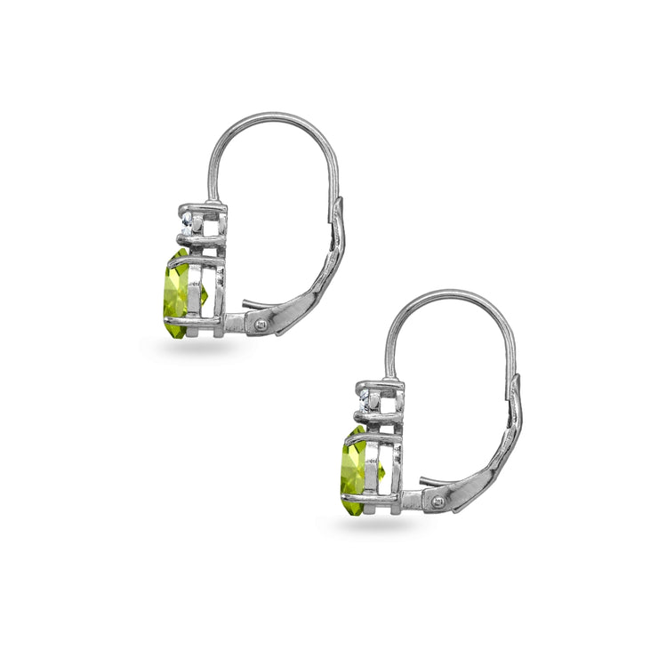 Sterling Silver Peridot 7x5mm Oval-Cut and 3mm Round-Cut CZ Dainty Leverback Earrings