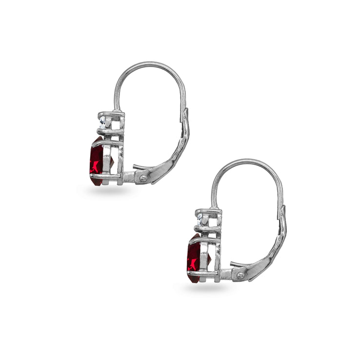 Sterling Silver Created Ruby 7x5mm Oval-Cut and 3mm Round-Cut CZ Dainty Leverback Earrings