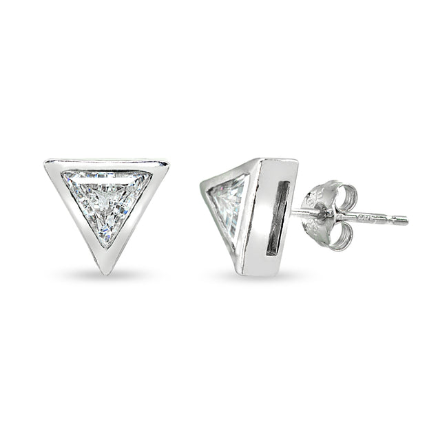 Sterling Silver 6mm Triangle-Cut Bezel-Set Solitaire Stud Earrings Made with Swarovski Zirconia