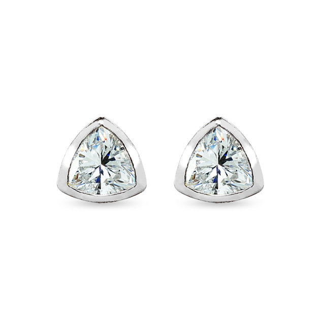 Sterling Silver 7mm Trillion-Cut Bezel-Set Solitaire Stud Earrings Made with Swarovski Zirconia