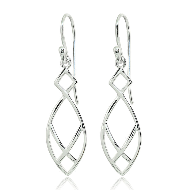 Sterling Silver Polished Geometric Teardrop X Tie Dangle Earrings