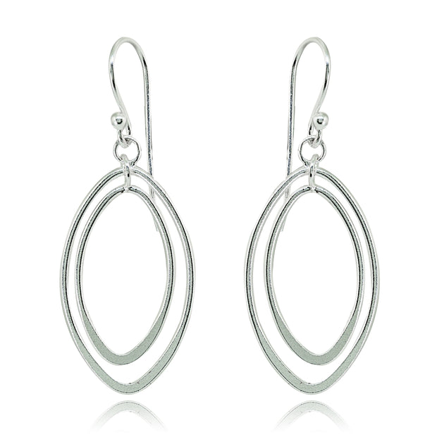 Sterling Silver Polished Layered Almond Shape Dangle Earrings