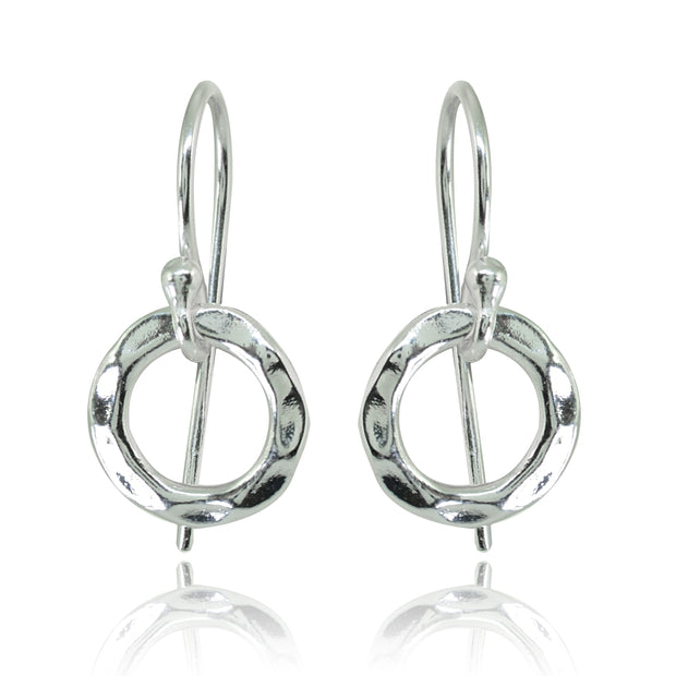 Sterling Silver Polished Small Circle Frontal Hoop Dangle Earrings
