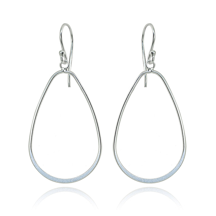 Sterling Silver Polished Open Teardrop Hoop Dangle Earrings