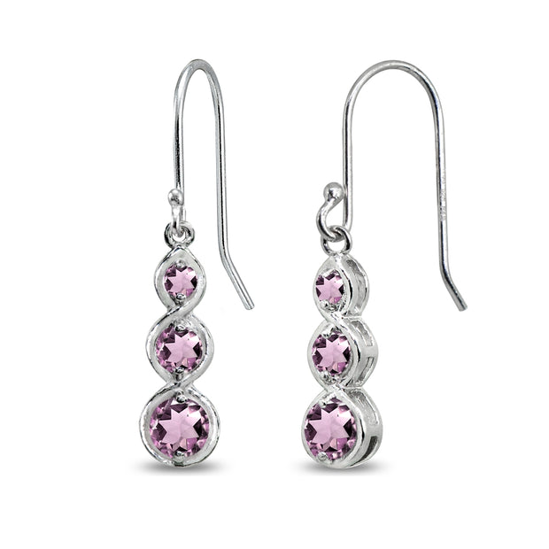 Sterling Silver Created Alexandrite Round Three Stone Journey Infinity Dangle Earrings