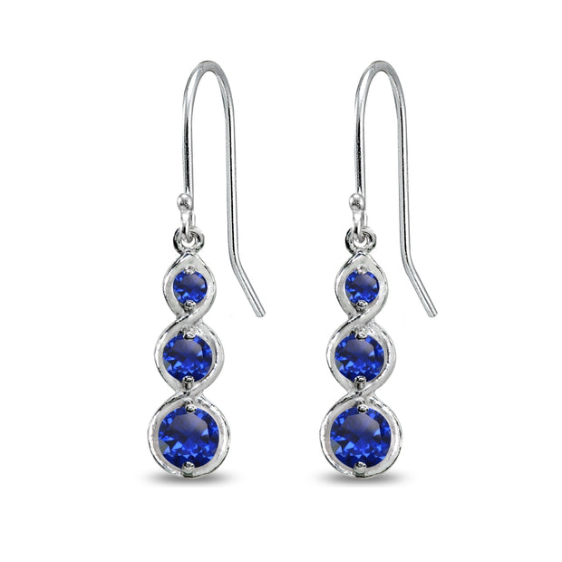 Sterling Silver Created Blue Spinel Round Three Stone Journey Infinity Dangle Earrings