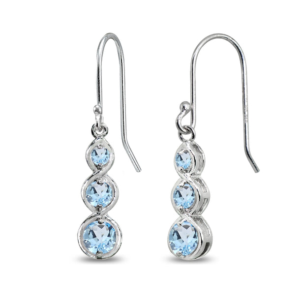 Sterling Silver Blue Topaz Round Three Stone Journey Infinity Dangle Earrings