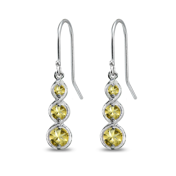 Sterling Silver Citrine Round Three Stone Journey Infinity Dangle Earrings
