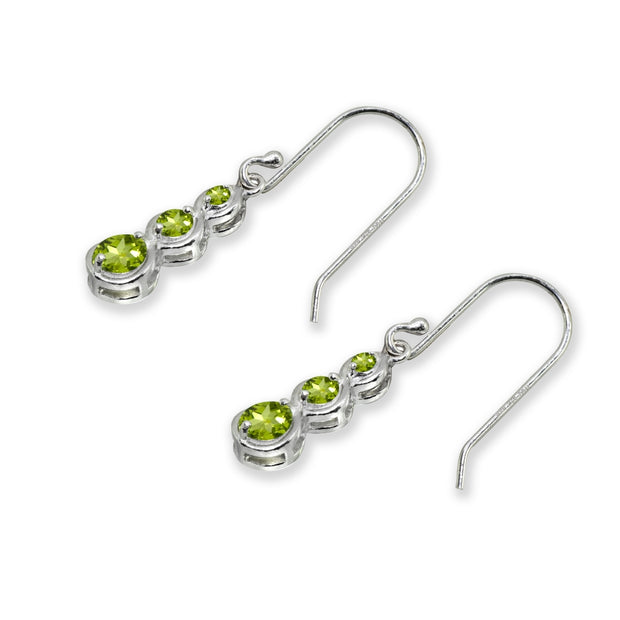 Sterling Silver Peridot Round Three Stone Journey Infinity Dangle Earrings