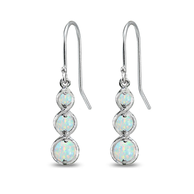 Sterling Silver Synthetic White Opal Round Three Stone Journey Infinity Dangle Earrings