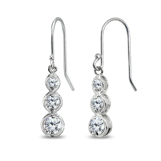 Sterling Silver Cubic Zirconia Round Three Stone Journey Infinity Dangle Earrings