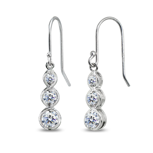 Sterling Silver Round Three Stone Journey Infinity Dangle Earrings Made with Swarovski Zirconia