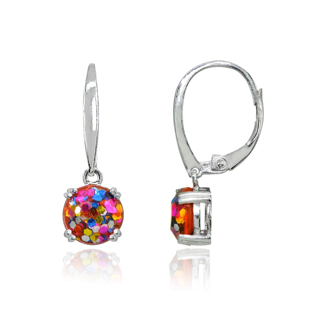 Sterling Silver Multi Color Glitter 8mm Round Dangle Leverback Earrings