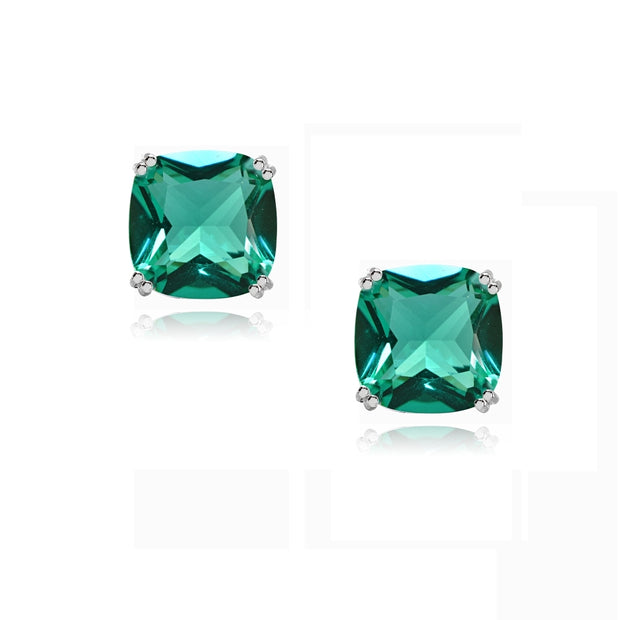 Sterling Silver Teal Glass 10mm Cushion-Cut Solitaire Small Stud Earrings