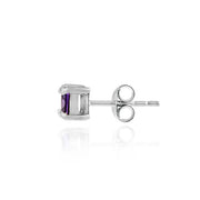 Sterling Silver Amethyst CZ Square Stud Earrings