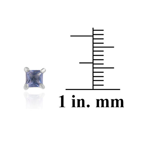 Sterling Silver Tanzanite CZ Square Stud Earrings