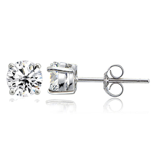 Sterling Silver Cubic Zirconia 6mm Round Stud Earrings
