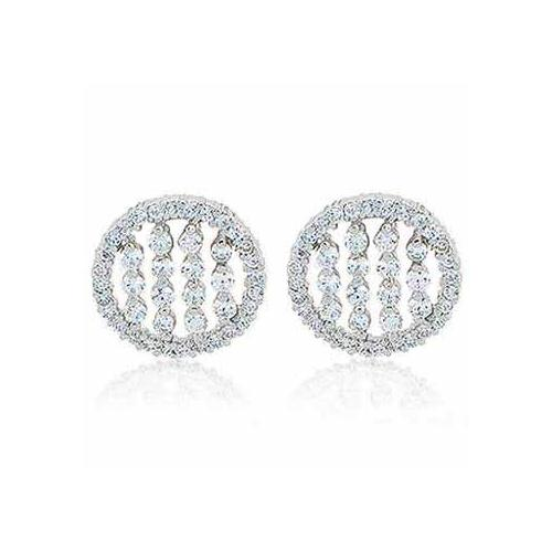 Sterling Silver CZ Striped Circle Stud Earrings